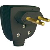 Plug Macho Preto 10A 250V 2 Pinos + Terra 615852 Pial